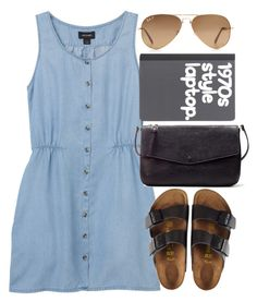 """""""Untitled #4530"""" by style-by-rachel ❤ liked on Polyvore featuring Monki, Birkenstock, Ray-Ban and Zara"""