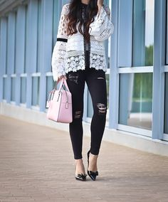 AMIABLE BLOSSOMS CROCHET TOP WITH BELL SLEEVES, cameron street little babe,  black distressed petite jeans, petite jeans, petite fashion blog - click the photo for outfit details!