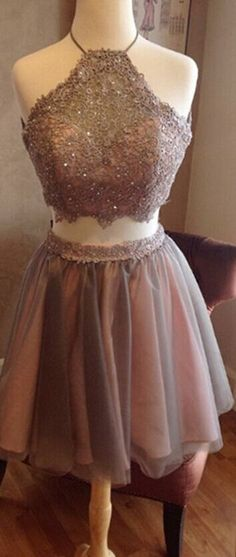 fashion-two-piece-halter-short-grey-backless-homecoming-dress-beading-appliques homecoming dress short prom dress backless homecoming