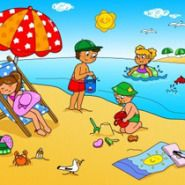 Children playing with the sand at the beach. Summer holidays digital cartoon illustration for kids. Picture Comprehension, Beach Cartoon, Kindergarten Songs, Romantic Beach, Kids Health, Children Health, Beach Scenes, Cool House Designs, Drawing For Kids