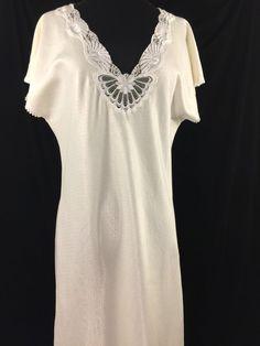 bd2a6bc060c Fernando Sanchez Night Gown Off White Long Sleeveless Lace Insert Vintage  Medium