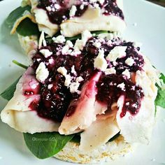 ❝Today, I topped mine with a dollop of light cream cheese, raw spinach, mesquite deli turkey, some of my blackberry-chia jam & a little feta.Don't be afraid of rice cakes. Try your favorite wacky combos on them. Savory, sweet, sweet & savory, possibilities are endless. Have fun experimenting & playing with your food.❞