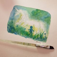 """Artist Jennifer Lindroos : """"When I was younger I used to love the late summer evenings, watching the fog rise on the field outside. It looked so magical I kept hoping…""""  #watercolor #unicorn"""