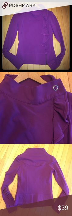 Karma San Suu zip up Adorable plum colored purple Karma 'San Suu' zip up. Ruffle pleating cascading down the front, thumb holes in sleeves. Size medium. Karma Jackets & Coats