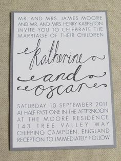 Modern Wedding Invitation Suite - Hand Calligraphy. £4.20, via Etsy.