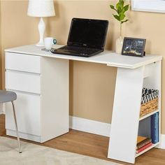 Looking for Simple Living Como Modern Writing Desk White Simple Living ? Check out our picks for the Simple Living Como Modern Writing Desk White Simple Living from the popular stores - all in one. White Writing Desk, Writing Desk With Drawers, White Desk With Drawers, Home Office Desks, Home Office Furniture, Loft Office, Office Style, Furniture Decor, Office Decor