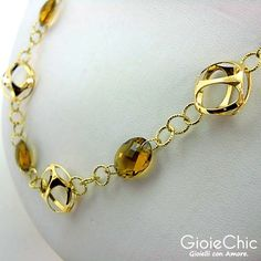 18Kt yellow gold with 3 citrine 10x12mm necklace.  Size: 45cm  Made in Italy.  www.gioiechic.com