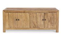 Mueble de televisión con cuatro puertas, realizado en madera de olmo. Medidas; 140x40xh.60