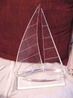 "SOLD Vintage Lucite Acrylic Sailboat Sculpture 14"" tall 10"" wide  - Unsigned"
