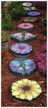 Painted stepping stones