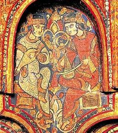 Islamic lute in Europe:better view of Muslim musicians from Norman King of Sicily Roger II's court in 1140 AD; entire lute is visible. Medieval Music, Medieval Life, Tempera, High Middle Ages, Middle East, Palatine Chapel, Fresco, Renaissance, Islamic Paintings