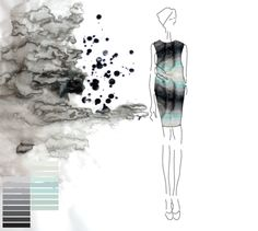 Fashion Portfolio layout - fashion design illustration for a printed dress with textural patterns - fashion mood board; fashion sketchbook