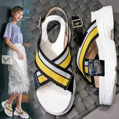 Sneaker sandals styles are in full swing this summer. Their base is as comfortable as that of a sneaker and they are as trendy as gorgeous and airy sandals. Latest Fashion For Women, Womens Fashion, Fashion Shoes, Fashion Outfits, African Fashion, Designer Shoes, Combat Boots, Men's Shoes, What To Wear