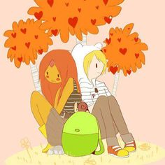 Finn and Flame Princess. I drew this one time. such a cute pair