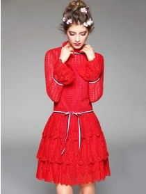 Red Lace Insert Stand Collar Balloon Sleeve Tie Wasit Layer Hem Mini Dress