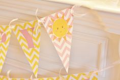 Happy Birthday Pennant Flag Yellow & Pink Chevron You Are My Sunshine Little Miss Sunshine Theme Banner - Ask About Our Party Pack Specials by DreamPartyPaperie on Etsy https://www.etsy.com/listing/117366635/happy-birthday-pennant-flag-yellow-pink