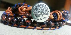 Handmade Double Light Brown Leather with Goldstone Glass Beads and Tree of Life Button - sold