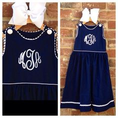 3 LETTER MONOGRAM MAY BE ADDED FOR $12! 'Madeleine' Navy Cotton/Satin Pique Ric Rac Dress by Lambs in Ivy Basics {Low Sheen} Price $29.99, Free Shipping  To purchase comment Sold, Size, and Email Address!  Then connect here: https://www.soldsie.com/pin/662137