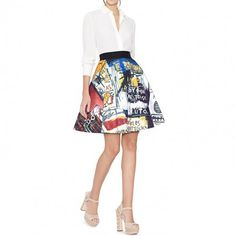 --evaChic--This Alice + Olivia X Basquiat Earla Printed Stretch Cotton Skirt is part of Creative Director Stacey Bendet's collaboration with the famous artist, featuring a wonderful image. It's a fashion item of great artistic value to be added to your fashion collectibles and statement pieces.                    https://www.evachic.com/product/alice-olivia-x-basquiat-earla-printed-stretch-cotton-skirt/