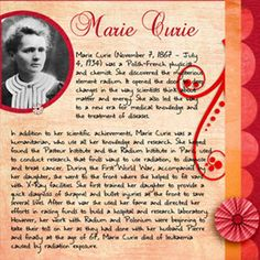 Digital scrapbook kits are great for making biographies and book reports. This is one on Marie Curie