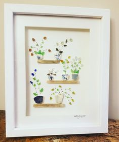 Sea Glass Flowers, Sea glass Art, Seaglass pictures, Beach Glass, Coastal Decor,Beach Art, Beach Decor, Devon Sea Glass, Flower Art