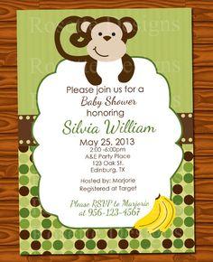 monkey baby shower invitation template 4x6 boy baby shower ...
