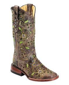 Ferrini Blossom Sequin Inlay Cowgirl Boots - Square Toe