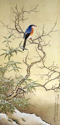 Bird on Snowy Branch, Chen Jun 1985 Japan Painting, China Painting, Chinese Landscape Painting, Landscape Paintings, Art Paintings, Art Japonais, China Art, Korean Art, Traditional Paintings