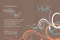 Custom Orange and Turquoise Flourish Wedding by Joyinvitations, $143.99