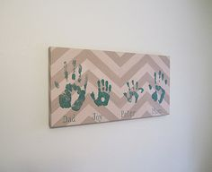 "Any Color, Personalized, Family Handprint or Footprint Canvas with Print Kit, 12x24"" by SnowFlowerArts"