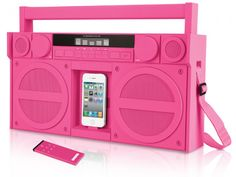 iHome iP4 portable FM stereo boombox, in pink. It reminds me of the Barbie boombox from the early 90s :)