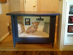 this reminds me of what we did for our old dog . we had one of those old ginormous boxed tv sets and we removed the tv from it and let him sleep there. this would be an amazing ideato make doors to fit and do for sophie
