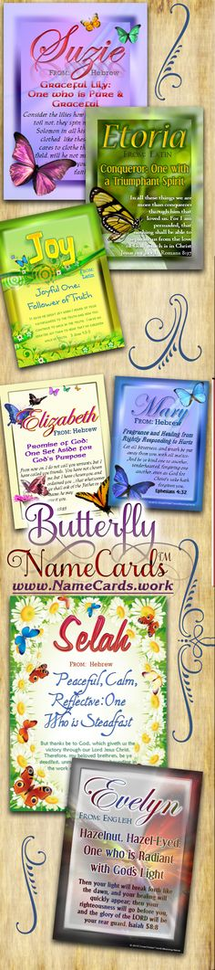 Beautiful Name Meaning Cards with images of colorful butterflies!  Send some encouragement with these $3.99 personalized cards at www.NameCards.work