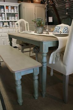 Re loved Rubbish: Used Duck Egg Blue and Coco on dining table and bench Chalk Paint® decorative paint by Annie Sloan.