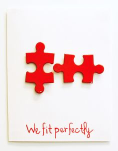 DIY Valentine or anniversary Card with jigsaw puzzle