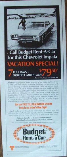 """1969 Budget Rent a Car - Chevrolet Impala print ad. """"Use our free tele-reservation system."""" Check out the Budget logo and font - groovy. #carrental"""
