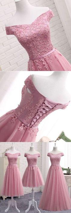 Cute a line lace off shoulder prom dress, lace evening dresses,009