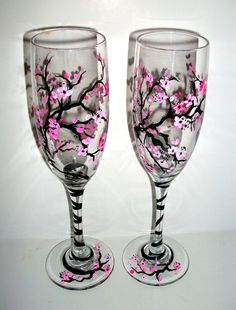 Spring Wedding Cherry Blossoms Hand Painted Champagne Flutes Set of 2 /   6 oz.. $45.00, via Etsy.