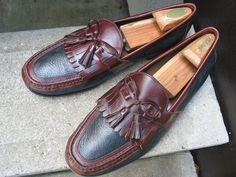 JOHNSTON & MURPHY Used Black & Brown Leather Loafers 12 #JohnstonMurphy #LoafersSlipOns
