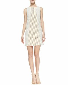 Sonoran+Sleeveless+Eyelet+Shift+Dress,+Ivory+by+Tibi+at+Neiman+Marcus.