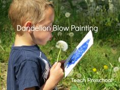 Dandelion Blow Painting by Teach Preschool   - Pinned by @PediaStaff – Please Visit  ht.ly/63sNt for all our pediatric therapy pins