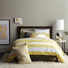 Gray Yellow Bedroom light gray walls, robin's egg blue bedding, bright yellow curtains