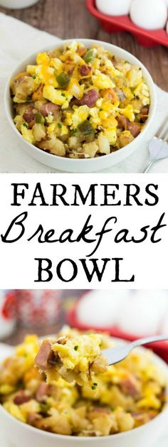 This Farmers Breakfast Bowl is a delicious combination of eggs potatoes peppers onions ham and cheese all in one hearty bowl! So you know Im more of a breakfast for dinner kinda girl. I have to admit I did not in fact have this for breakfast. Breakfast For Dinner, Breakfast Dishes, Breakfast Time, Breakfast Casserole, Best Breakfast, Breakfast Recipes, Breakfast Ideas, Paleo Breakfast, Breakfast Pictures