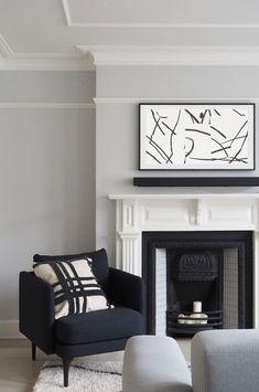 Farrow And Ball Living Room, Living Room Grey, Living Room Sofa, Home Living Room, Living Spaces, Living Room Artwork, Charcoal Sofa Living Room, London Living Room, Small Living