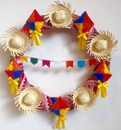 :D❤️ --- 'Teeny-Tiny Sombrero Statement '. Summer Wreath, 4th Of July Wreath, Diy And Crafts, Crafts For Kids, Diy Y Manualidades, Party Decoration, Some Ideas, Holidays And Events, Party Time