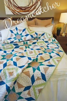 Looking for an extra long twin-size quilt? Dreamcatcher, by Denise Russart, is a one-block quilt pattern that uses basic piecing techniques. This means you'll have this one sewn up quickly. Modern and versatile, this dynamic block design works with any print or color combination! #BedQuilts