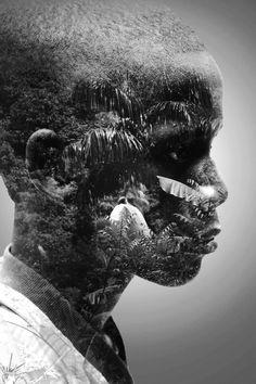 Haiti Portrait Photoshop Double Exposure Black And White