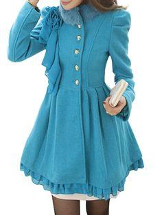 Stylish Round Neck Falbala Overcoats  from fashionmia.com