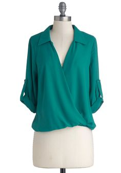 Talk of the Georgetown Top. Breeze by the corner of M Street and Wisconsin in this silky teal blouse! #green #modcloth