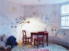 Articles about collection/nursery kids on Apartment Therapy, a lifestyle and interior design community with tips and expert advice on creating happy, healthy homes for everyone. Art Wall Kids, Art For Kids, 4 Kids, Wall Art, Creative Kids Rooms, Kids Play Spaces, Wall Drawing, Kid Styles, Kids Furniture
